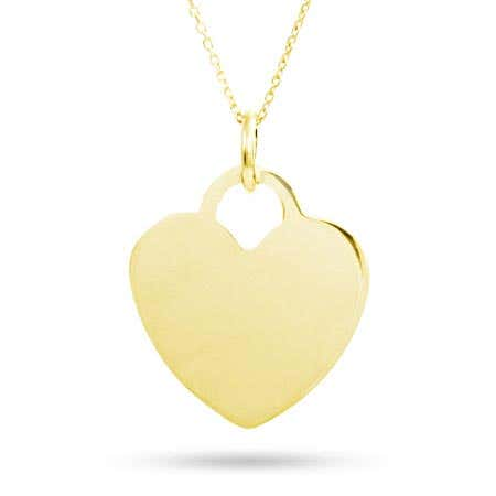 Engravable Gold Vermeil Heart Pendant