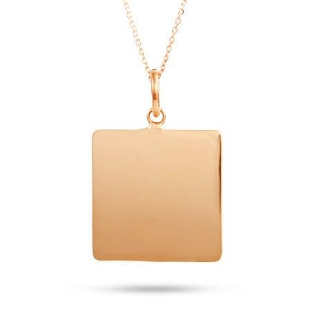Rose Gold Vermeil Engravable Square Tag Necklace