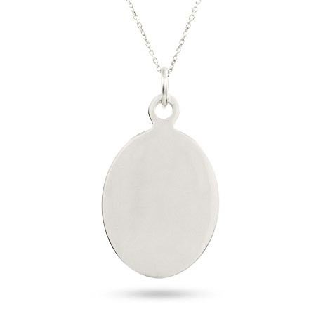 Sterling Silver Oval Tag Engravable Pendant