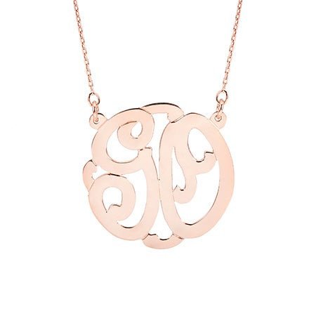 Rose Gold Vermeil Two Initial Monogram Necklace