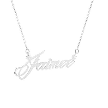 Elegant Script Silver Name Necklace