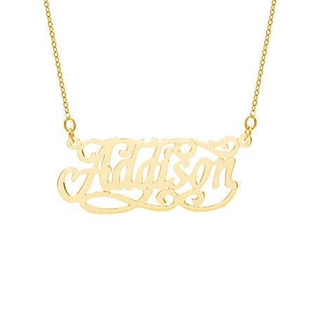 Fancy Flourish Gold Vermeil Nameplate Necklace
