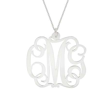 Fancy Script Sterling Silver Monogram Necklace | Eve's Addiction®
