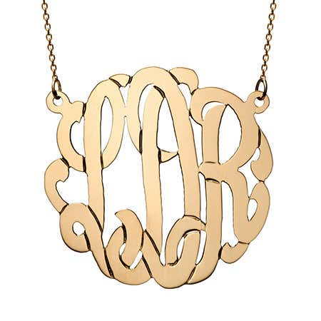 display slide 1 of 6 - Custom 10K Solid Gold Monogram Necklace - selected slide
