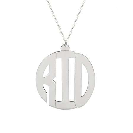Sterling Silver Block Style Monogram Necklace