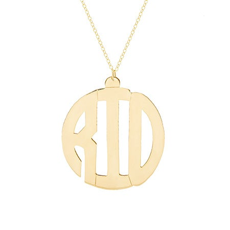 Gold Vermeil Block Style Monogram Necklace