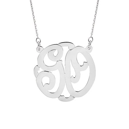 Sterling Silver Two Initial Monogram Necklace