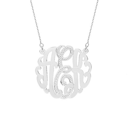 Sterling Silver Diamond Monogram Necklace