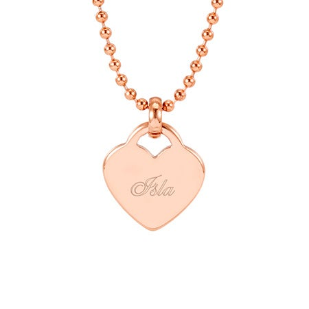 Rose Gold Engravable Heart Pendant   Eve's Addiction®