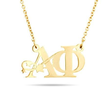 Alpha Phi Gold Vermeil Ivy Letter Necklace