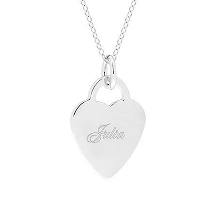 Engravable Heart Sterling Silver Pendant | Eve's Addiction®