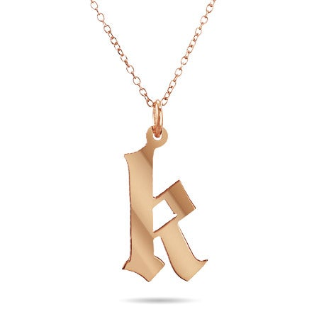 Rose Gold Vermeil Gothic Initial Necklace