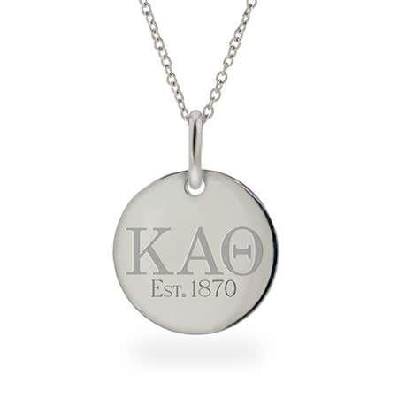 Kappa Alpha Theta Est 1870 Round Charm Necklace