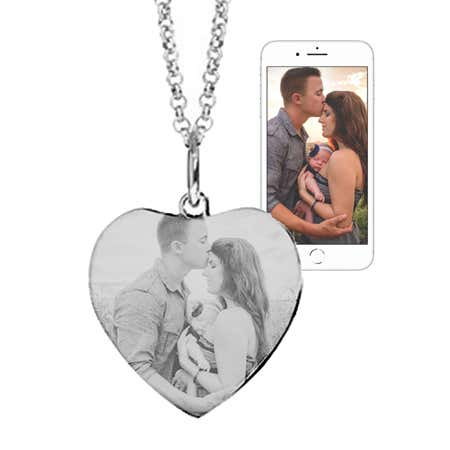 Custom Stainless Steel Heart Photo Necklace