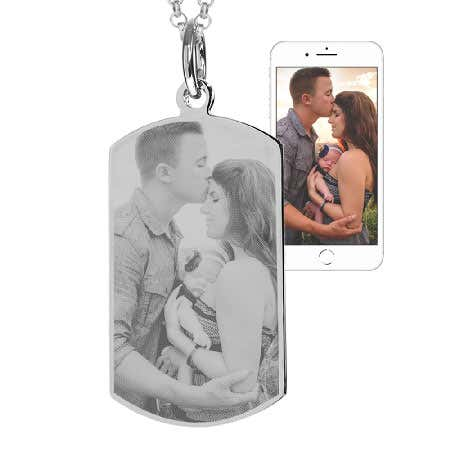 Stainless Steel Dog Tag Photo Necklace | Eve's Addiction®