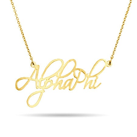 Alpha Phi Gold Vermeil Fancy Necklace | Eve's Addiction