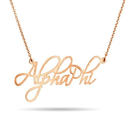 Alpha Phi Rose Gold Vermeil Fancy Necklace
