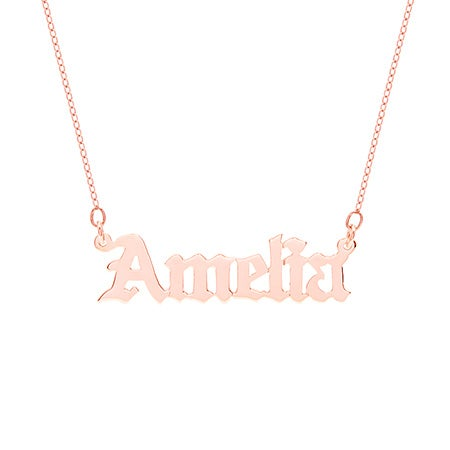 Rose Gold Vermeil Gothic Name Necklace