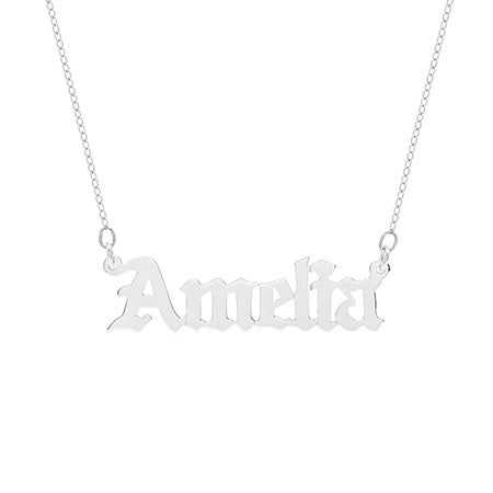 Custom Sterling Silver Gothic Name Necklace