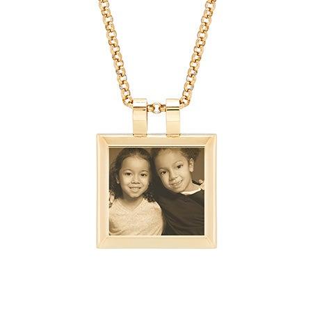 Gold Cushion Tag Photo Pendant