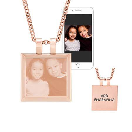 Rose Gold Cushion Tag Photo Pendant