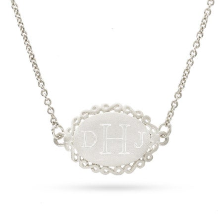 Sterling Silver Vintage Laced Oval Pendant