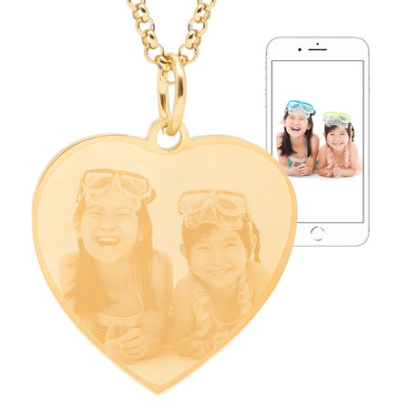Gold Plated Stainless Steel Heart Photo Pendant