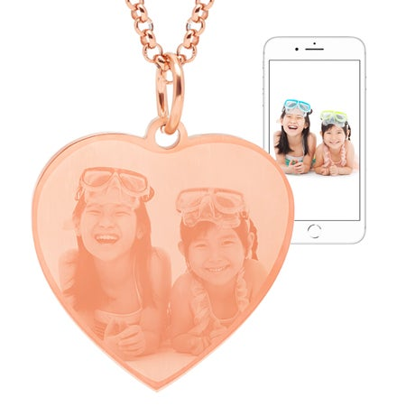 Rose Gold Plated Stainless Steel Heart Photo Pendant