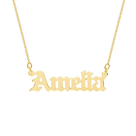 Custom Gold Vermeil Gothic Name Necklace