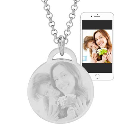 Stainless Steel Round Tag Photo Pendant