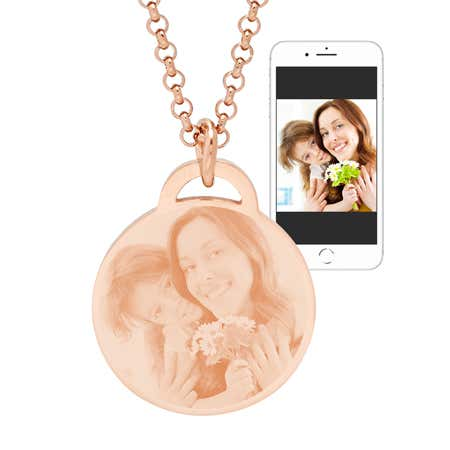 Rose Gold Plated Round Tag Photo Pendant