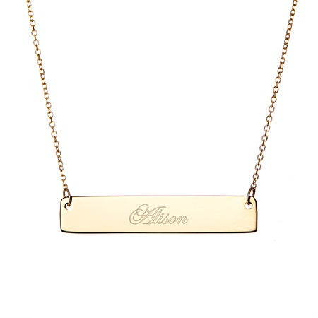 custom name bar necklace in gold and cheap bridesmaids gifts online