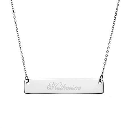 Engravable Sterling Silver Bar Necklace