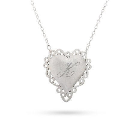 Engravable Silver Vintage Laced Heart Necklace