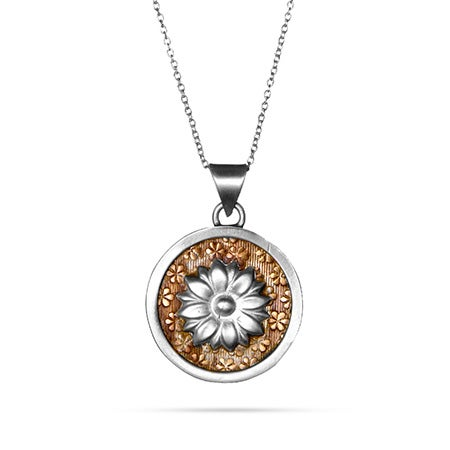 Engravable Flower Two Tone Medallion Necklace