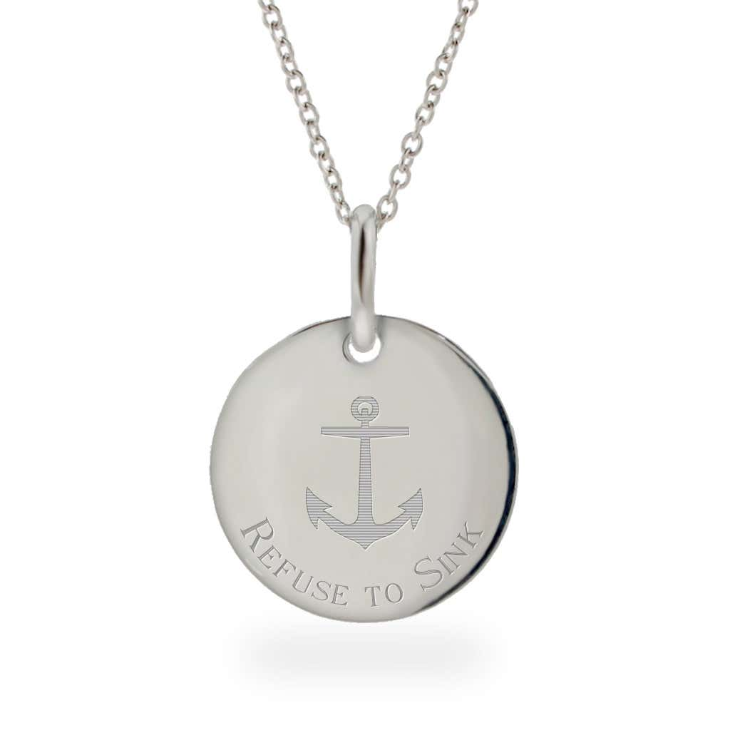 Engravable Refuse To Sink Anchor Necklace