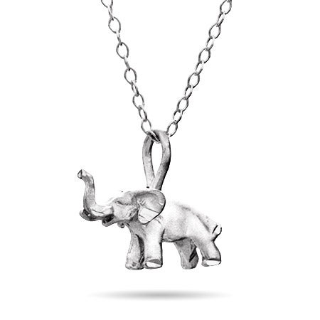 Petite Elephant Pendant Sterling Silver Necklace