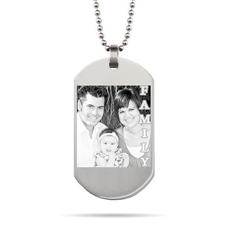 Custom Family Photo Dog Tag Stainless Steel Necklace