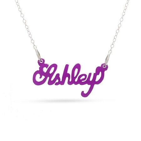 Script Style Purple Acrylic Name Necklace | Eve's Addiction®