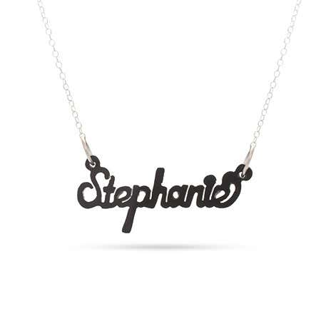 Script Style Black Acrylic Name Necklace