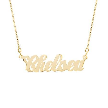 10K Gold Simple Script Custom Name Necklace