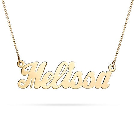 14K Solid Gold Simple Script Custom Name Necklace