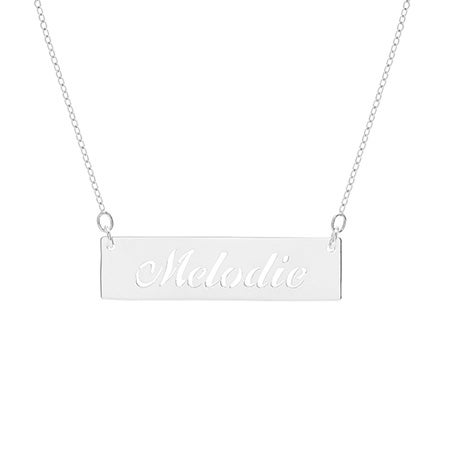 Cut Out Nameplate Bar Silver Necklace | Eve's Addiction®