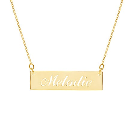 Cut Out Nameplate Bar Gold Vermeil Necklace