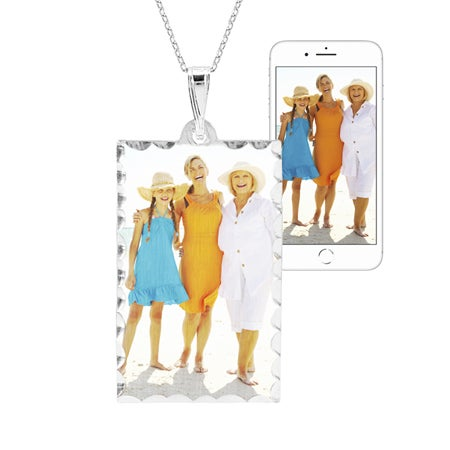 Photo Color Dog Tag Sterling Silver Necklace