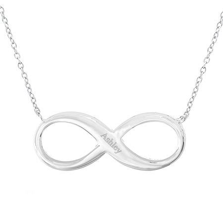 Engravable Infinity Necklace in Sterling Silver