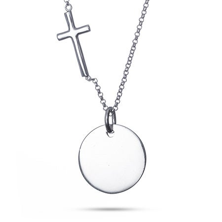 Engravable Silver Round Tag with Sideways Cross Necklace