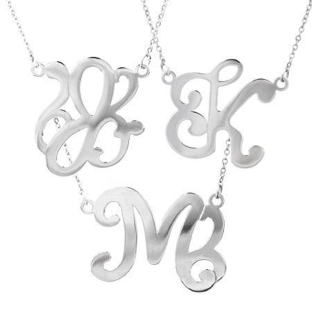 Single Initial Script Style Sterling Silver Monogram Necklace