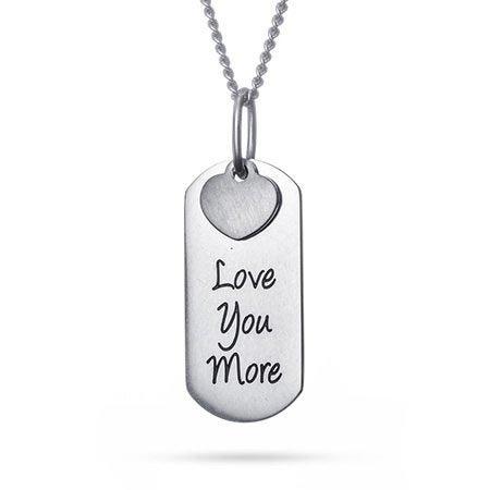 Love You More Engravable Tag Pendant