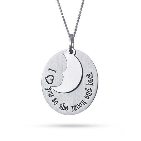 I Love You To The Moon and Back Oval Tag Pendant